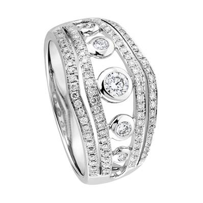 BAGUE OR GRIS 750/00 1 DIAMANT 0,11CT + 92 DIAMANTS BLANCS 0,40CT