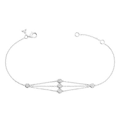 BRACELET OR GRIS 750/00 5 DIAMANTS BLANCS 0,23CT