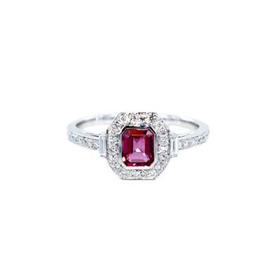 BAGUE OR GRIS 750/00 TOURMALINE 0,43 CT