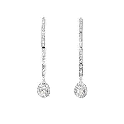 BO OR GRIS 750/00 2 DIAMANTS 0.30CT + 70 DIAMANTS BLANCS 0.41CT