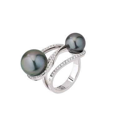 bague or gris perle de culture