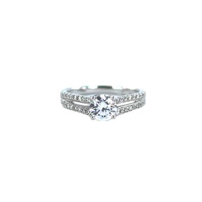 BAGUE OR GRIS 750/00 DIAMANT ROND 0,30 CT + 0,70 CT
