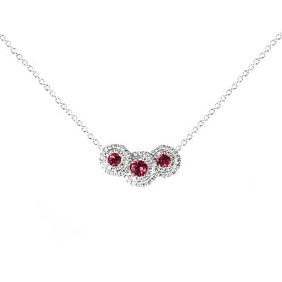 COLLIER OR GRIS  750/00 RUBIS 0,46 CT