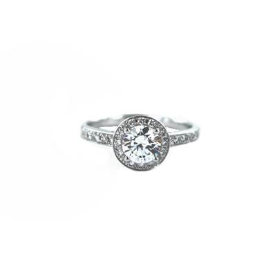 BAGUE OR GRIS 750/00 DIAMANT 0,22 CT + 0,70 CT