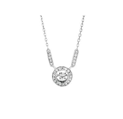 COLLIER OR GRIS 750/00 DIAMANT 0,10CT + 27 DIAMANTS BLANCS 0,16CT