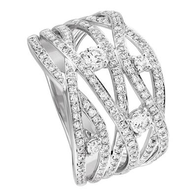 BAGUE OR GRIS 750/00 142 DIAMANTS BLANCS 0,92CT